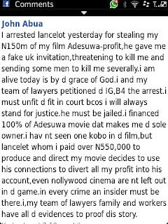 Lancelot Oduwa Imasuen, Top Nollywood Producer/Director Gets Arrested For Threatening To Kill And Kidnap, John Abua, The Executive Producer Of ADESUWA. 3