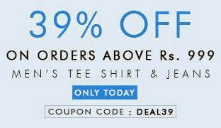 Myntra One Day Offer: Get Flat 39% Extra Off on Men's T-Shirts & Jeans (For Today Only)