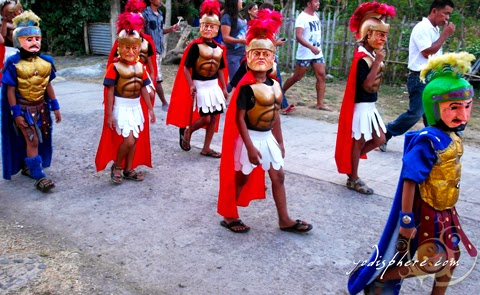 Kids wearing masks as Morions participating in street procession during the Moriones Festival