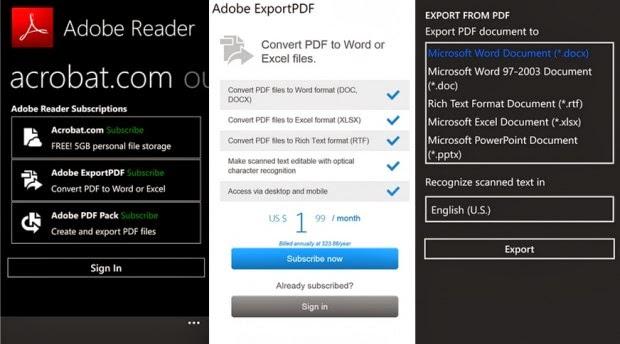Adobe Reader cho Windows Phone cập nhật hỗ trợ đọc file từ OneDrive và thêm tính năng khác