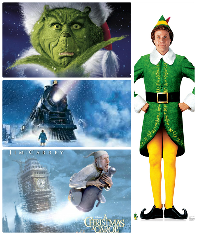 christmas film the grinch, elf, the polar express, the christmas carol