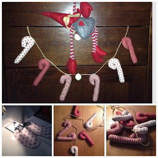 karácsony, textil, cukorbot, candycane