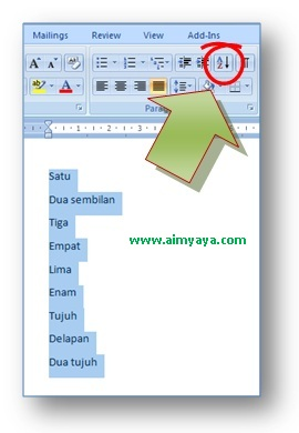 toolbar pengurutan data di Microsoft Word 2007