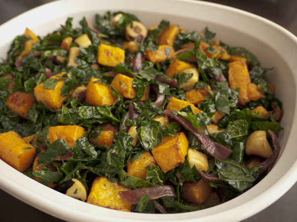 Warm kale salad with roasted butternut squash, parsnips, and red onions