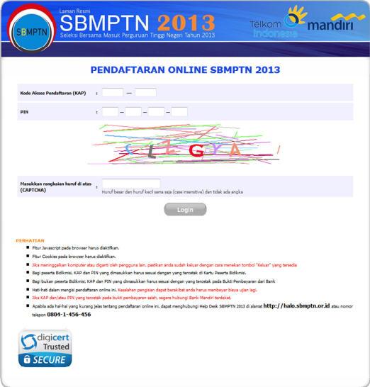 Panduan Pendaftaran Online SBMPTN 2013