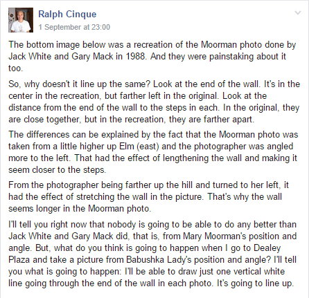 Ralph Cinque makes a series of inaccurate claims about the Moorman photo in a Facebook group