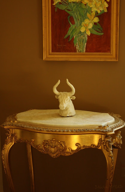 sculpture, bull, animal, interior, living, art, arte, sarah, myers, sculptor, room, painting, amy, myers, gold, table, exuberance,
