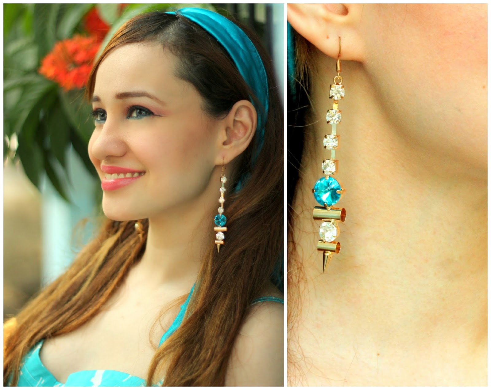 Crystal & Blue Stone Dangling Earrings