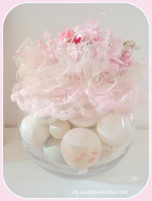 Noêl shabby chic rose et blanc