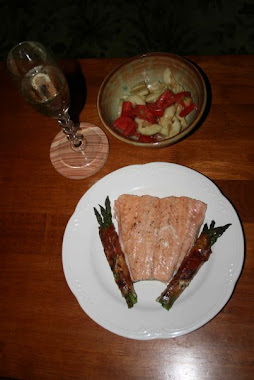 Coho salmon and proscuitto-wrapped asparagus