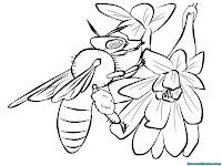 Lembar Mewarnai Lebah Gratis