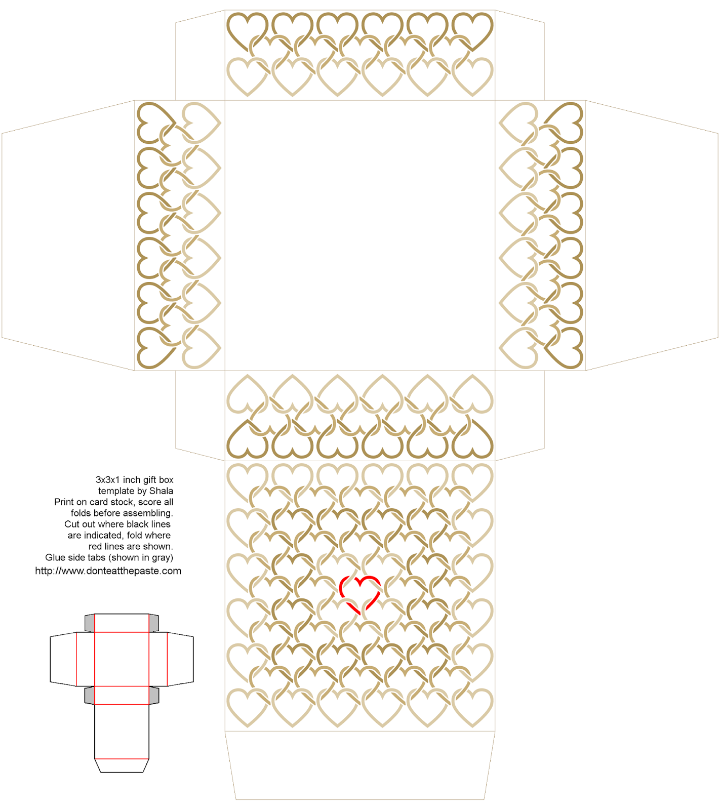 3x3x1 inch printable linked hearts box in tan and red- also available in a different size and in blue and orange