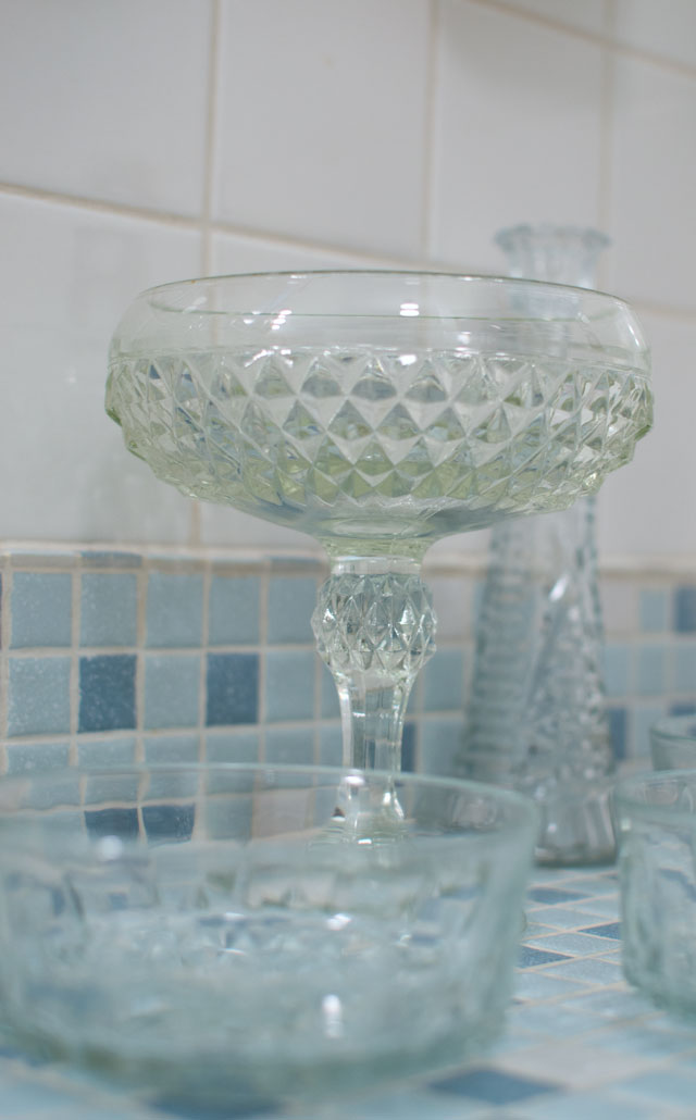 thrift store glass compote