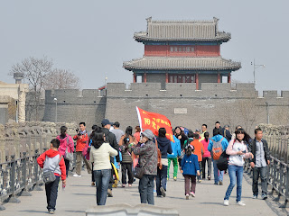 Tour group on Lugou Qiao or Marco Polo Bridge