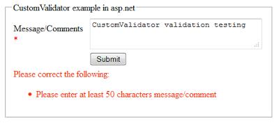 CustomValidator vaidation control example in asp.net