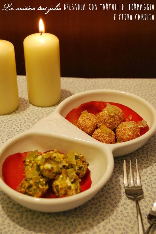 bresaola con tartufi di formaggio e cedro candito