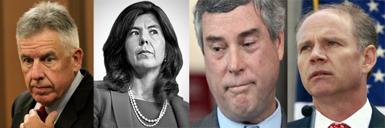 "From Left: Timothy McGinty, prosecutor in the Tamir Rice case; Anita Alvarez, prosecutor in the Laquan McDonald  case; Robert McCulloch, prosecutor in the Mike Brown case; Daniel Donovan, prosecutor in the Eric Garner case. All  of these so-called ""prosecutors"" used tricks from the The Prosecutor's Cover Up Playbook."