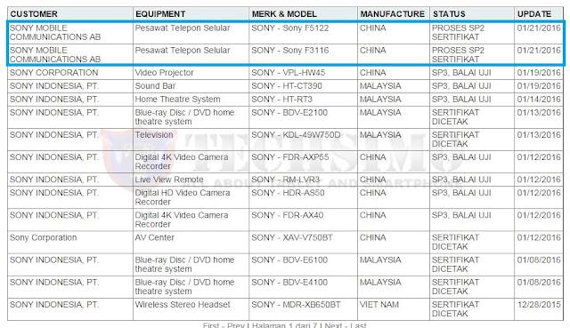 Sony F3116 dan Sony F5122 masuk badan sertifikasi Postel Indonesia, mungkinkah Xperia T4?