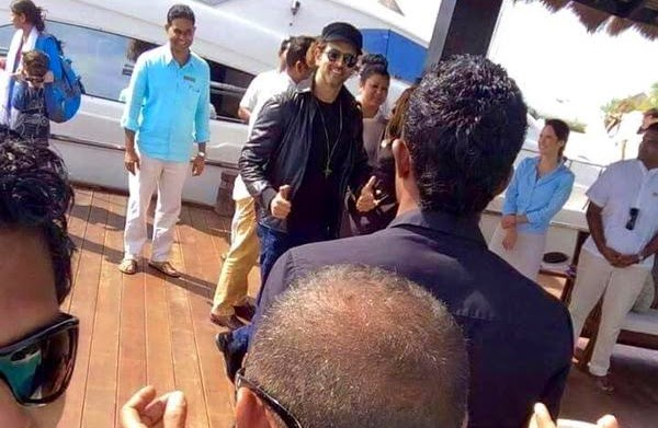 Hrithik Roshan does a jig with fans in Maldives