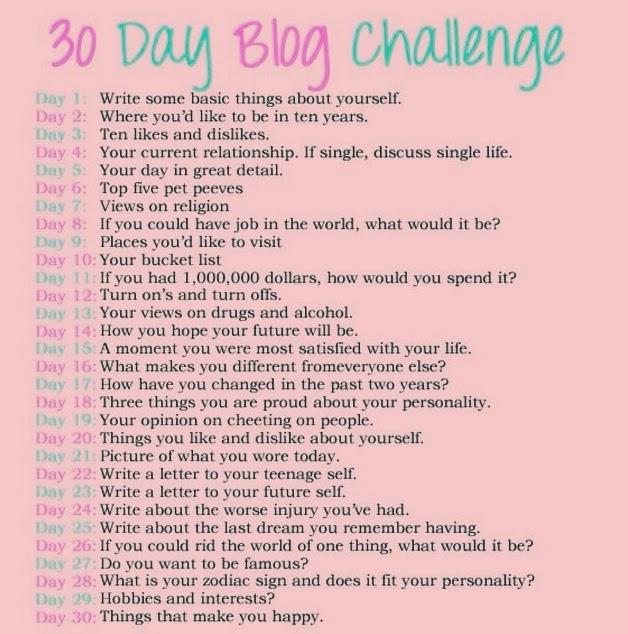 30-day Blog 30 Day Blog Challenge