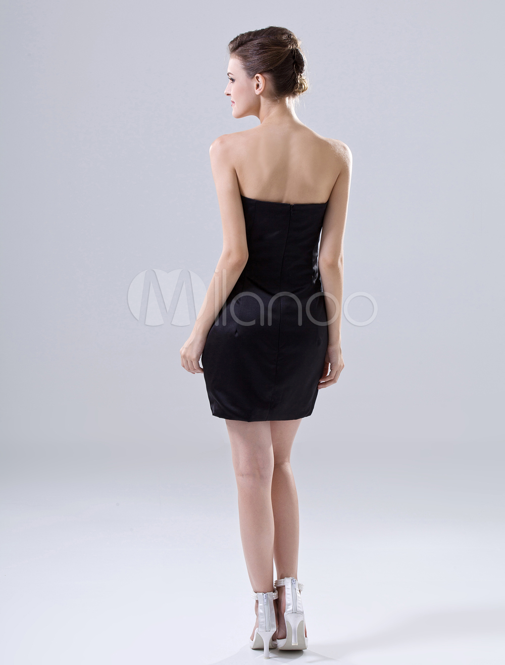China Wholesale Dresses - Fashion Black Mini Length Sheath Satin Homecoming Dress