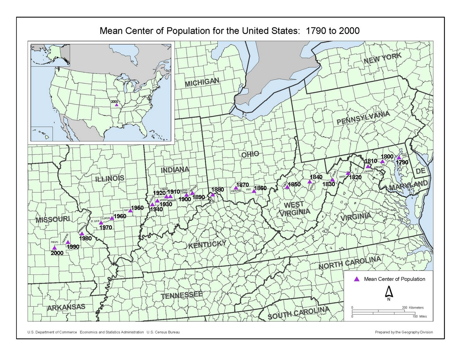 population was more than 1 000 miles from the first center in 1790 which was near chestertown md u s bureau of the census website