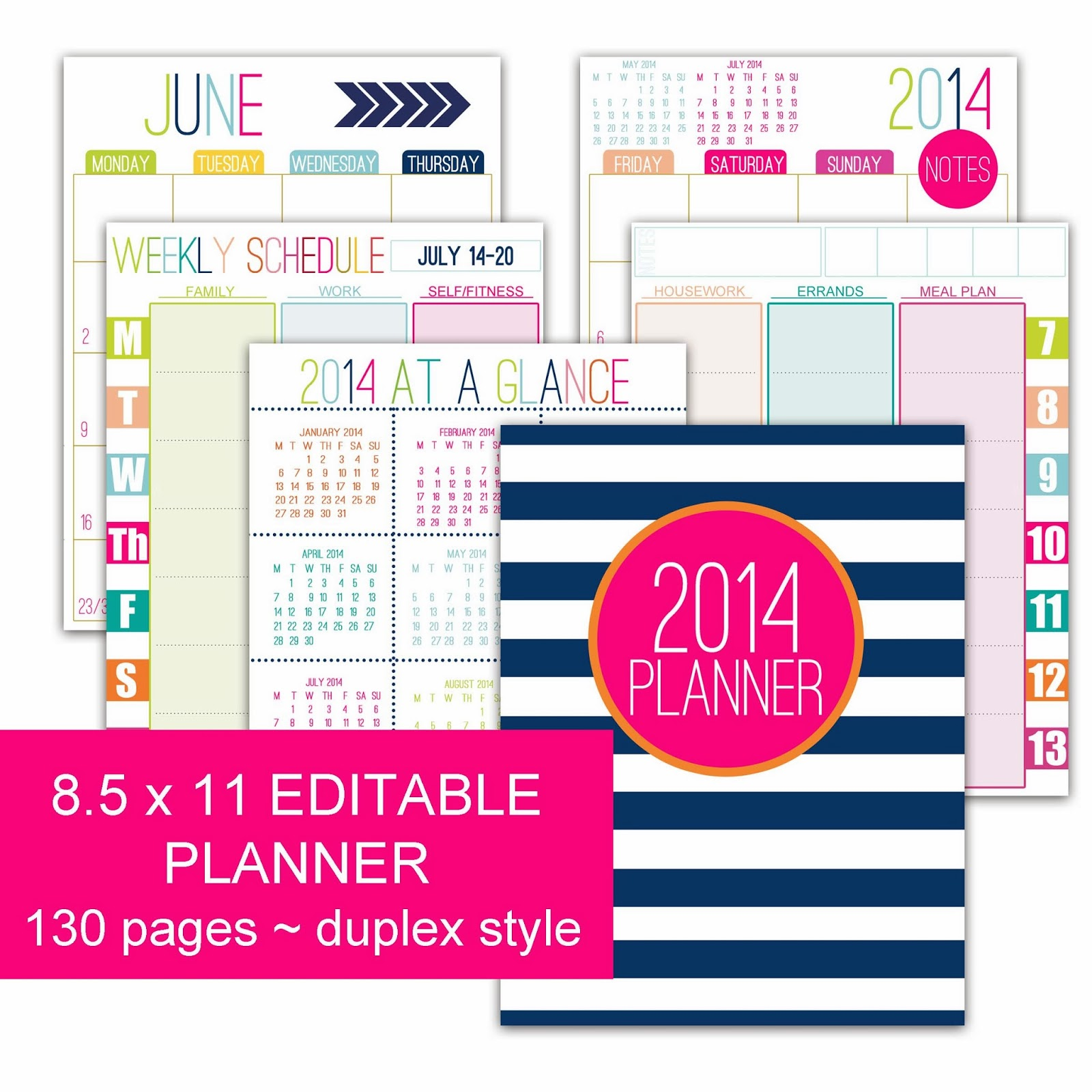 ... as single printouts such as weekly calendars and financial sheets
