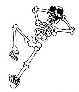 Desenho como desenhar Esqueleto estiloso so no osso fazendo pose pintar e colorir