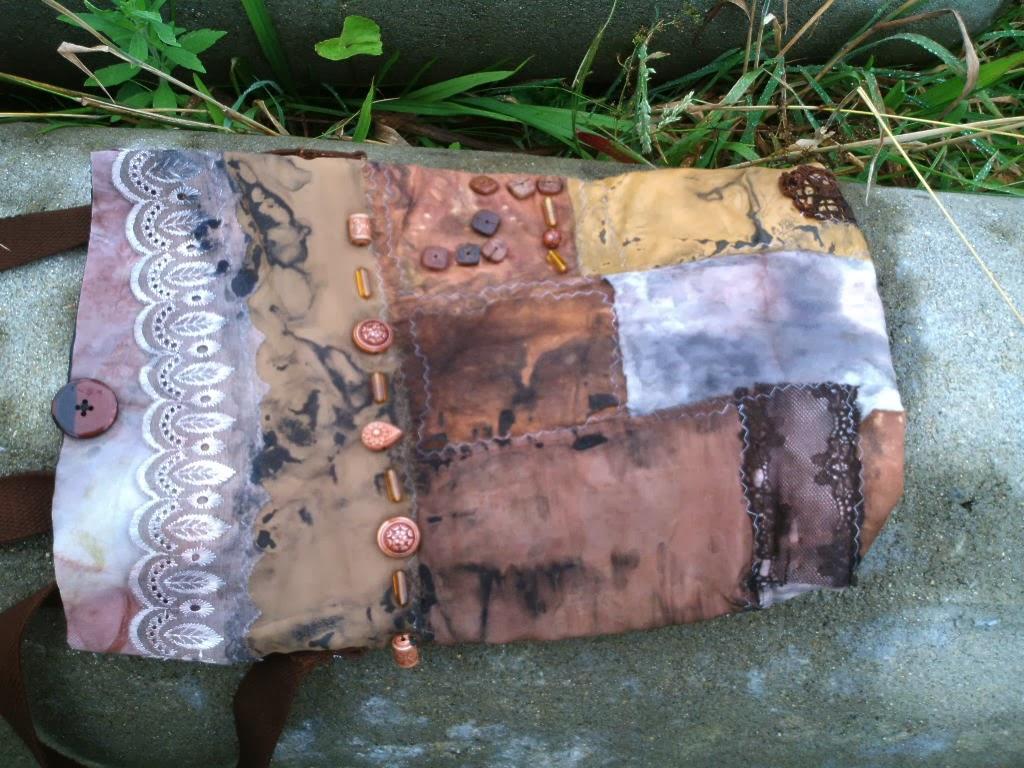 bolsa de retalhos estampados e tingido
