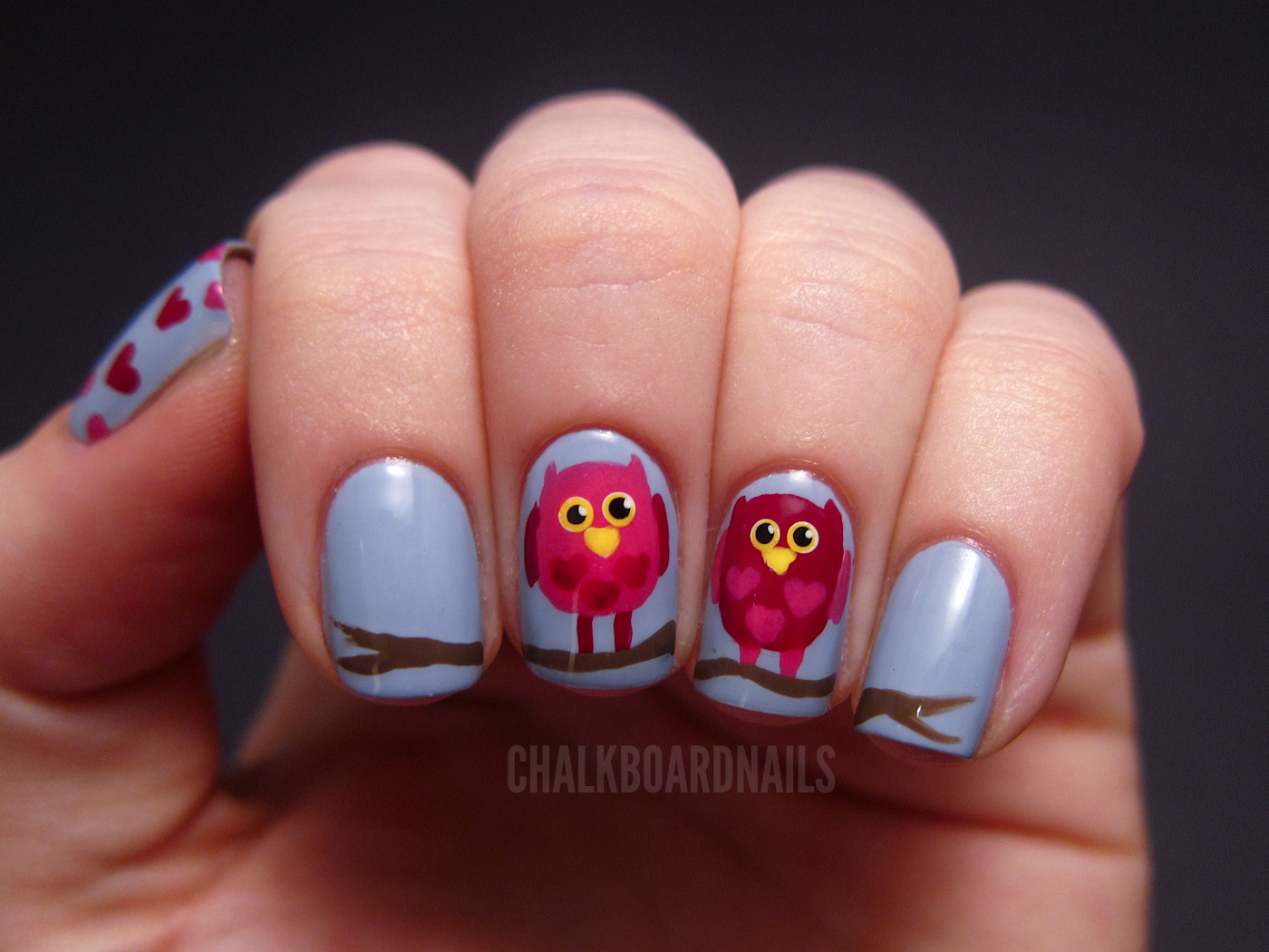 Valentine's Owl Nail Art Tutorial - Valentine's Owl Nail Art Tutorial Chalkboard Nails Nail Art Blog