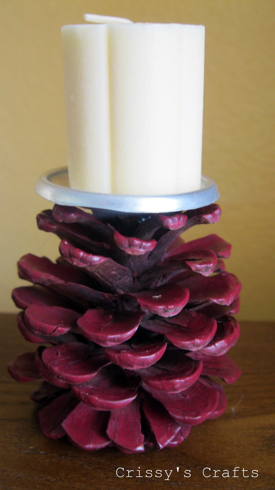 Crissy 39 s crafts pinecone candle holder for Candle holder crafts