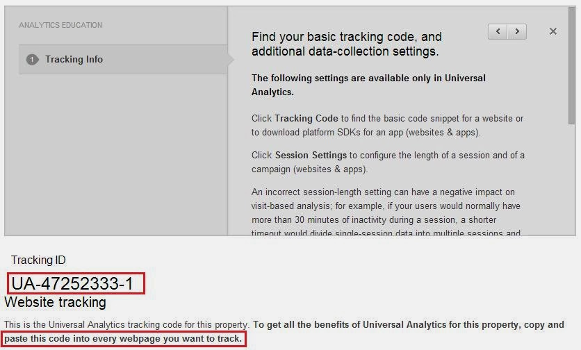 Tracking ID for Google Analytics website tracking