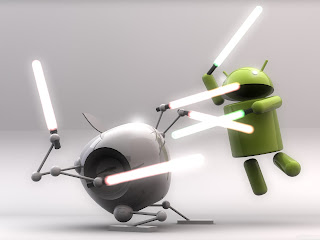 Android Mascot vs Apple Logo with Lightsabers HD Wallpaper