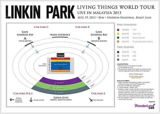 Harga Tiket Linkin Park Live In Malaysia 2013