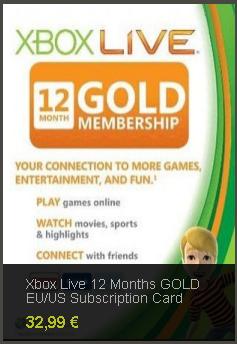Suscripción Gold de Xbox Live barata