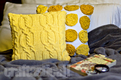 Cable knit pillow tutorial--such a cheery yellow!