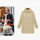 ladies cream cable knitted cotton sweater