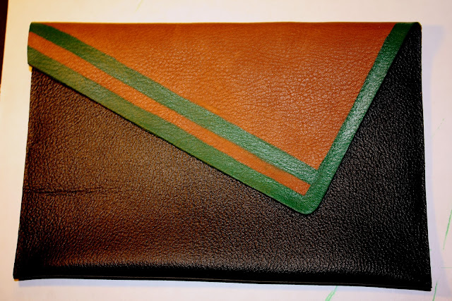 DIY, no, sew, leather, clutch, leather clutch