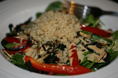 Spinach and Mushroom Salad with Pearled Couscous