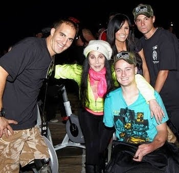 Cher with disabled veterans at 'The Heroes Project' at Santa Monica Pier