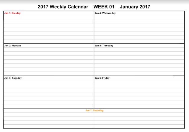Calendar Template Weekly 2017 printable calendar 2017 – 3 Week Calendar Template
