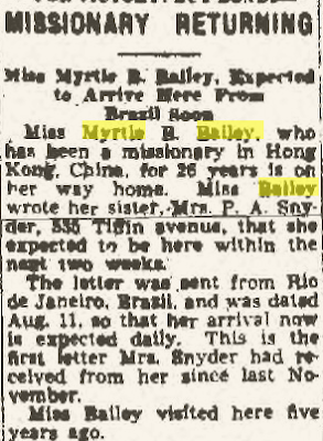"Climbing My Family Tree: ""Missionary Returning"" 18 August 1942, The Findlay Republican Courier, p. 13"