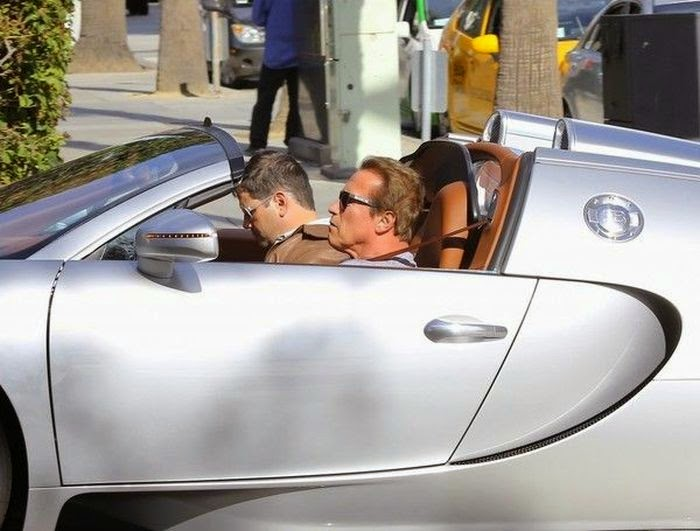 Okay, so what is going on? Arnold Schwarzenegger has now been photographed to driving a luxury car at Los Angeles on Wednesday, February 11, 2015.  For that vehicle to integrated the way it did, speed, of course, but something went wrong. . . . . . . . . . . .The price is $ 2 Million and the Bugatti Veyron appeared to be a rose wine during his lunch outing.