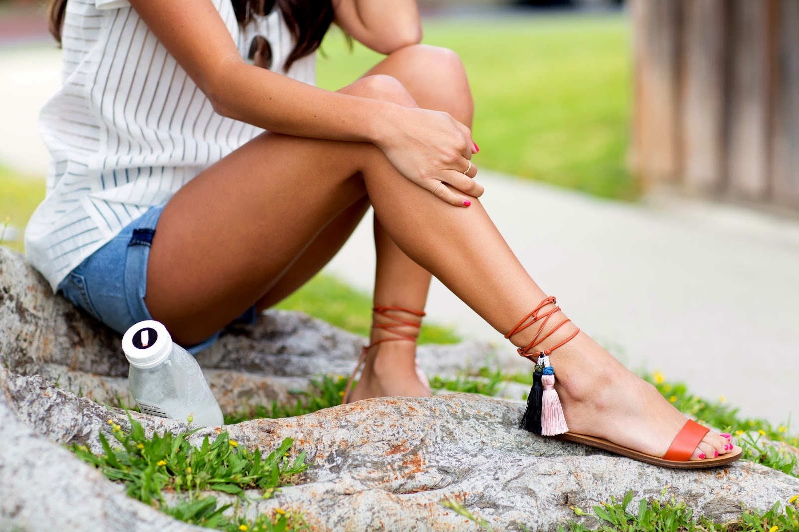 j crew tassel sandals, how to wear tie up shoes, denim shorts, pursuit of shoes