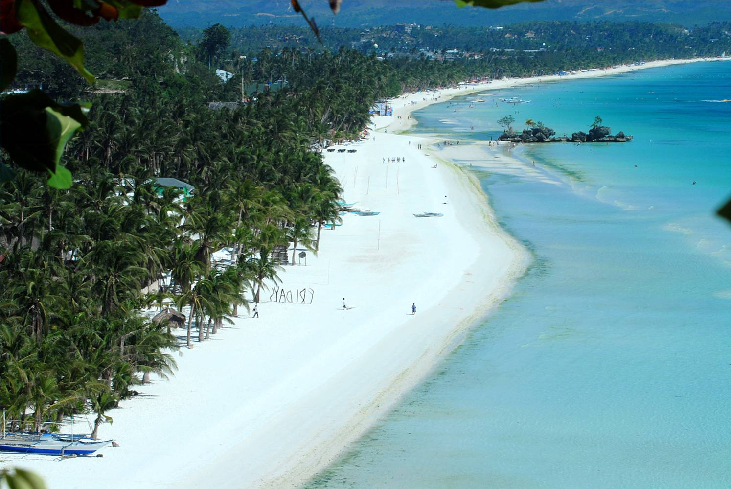 the beauty of the white sand beach of Boracay Island, Philippines