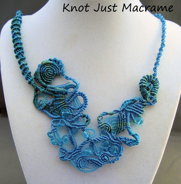 Water macrame necklace knotted in shades of blue and aqua