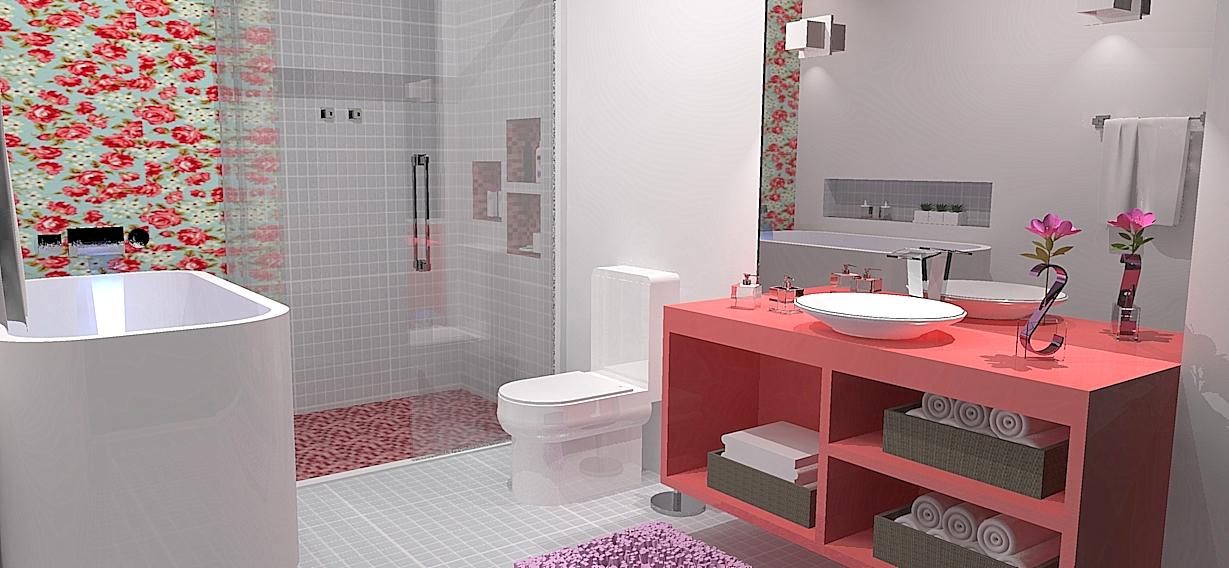 Design de Interiores e Paisagismo Portfólio de Projetos -> Banheiro Feminino Simples