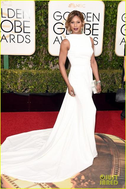 Laverne Cox, Golden globe awards, melhores looks, atriz, vestido longo, mãe da noiva, noiva, madrinha, branco, decote, cauda, cintura marcada, reto
