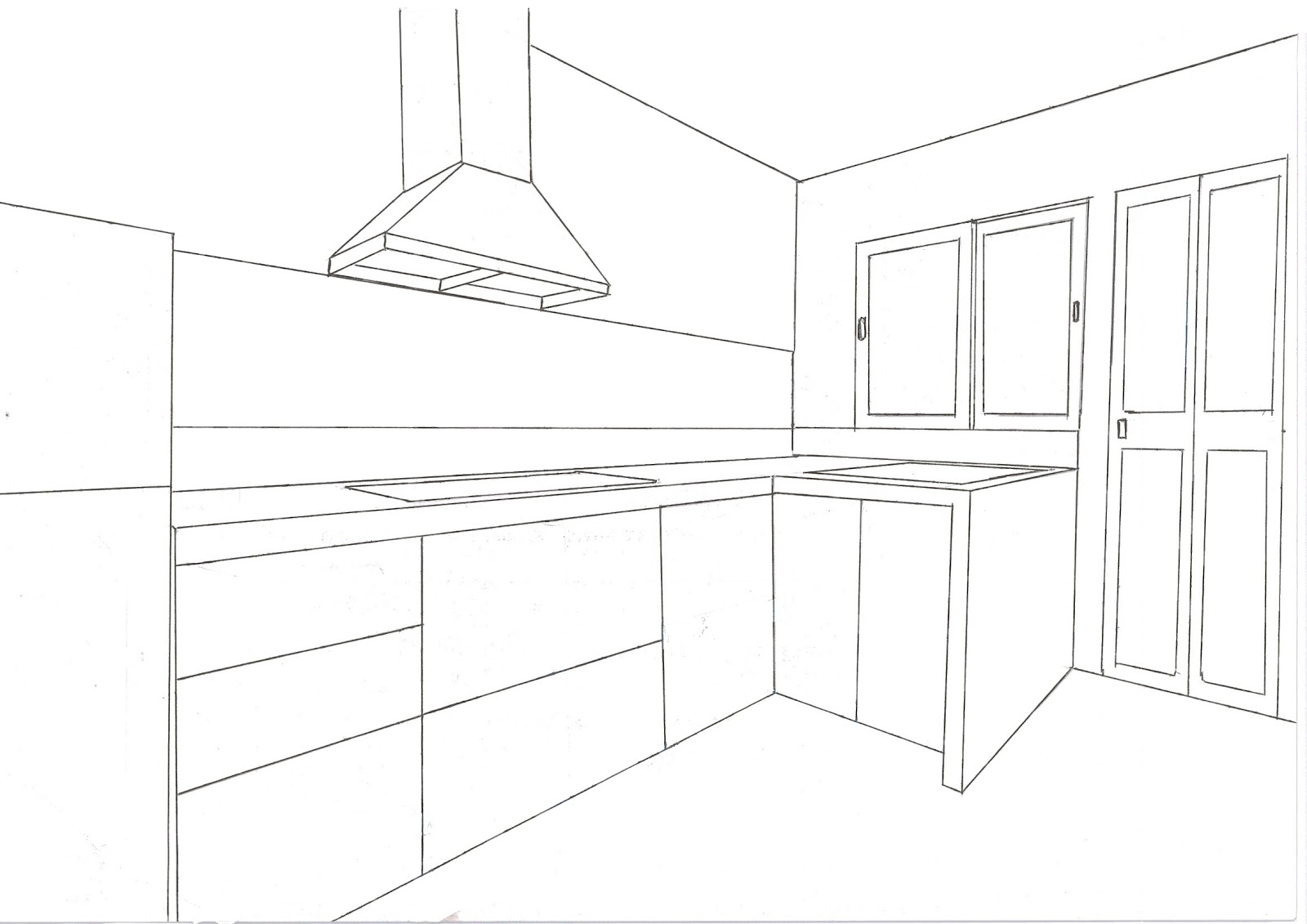 3D Drawing of Kitchen Cabinet