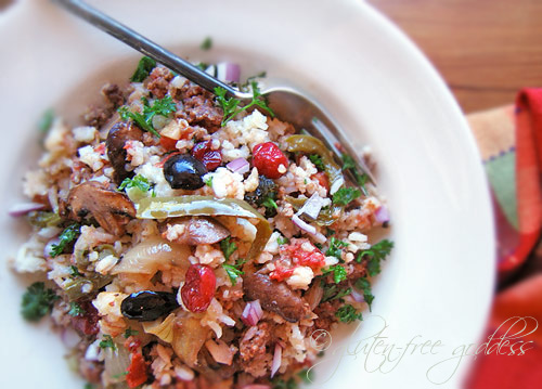 Versatile, cozy, easy autumn rice bake with ground turkey, cranberries and mushrooms (gluten-free)